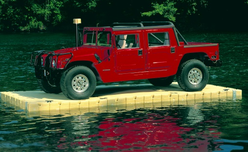 Picture of a Hummer floating on an EZ Dock